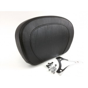 Top-Stitch Passenger Backrest Pad & Chrome Mounting Triangle Bracket  for Years 1997-2020 HD Touring Models like Street Glide Road King Electra Glide CVO Ultra Limited Sissybar Uprights Like 52627-09A 52427-09A Equivalent to Harley Davidson 52924-98B